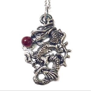Vintage Asian oriental red dragon pendant necklace